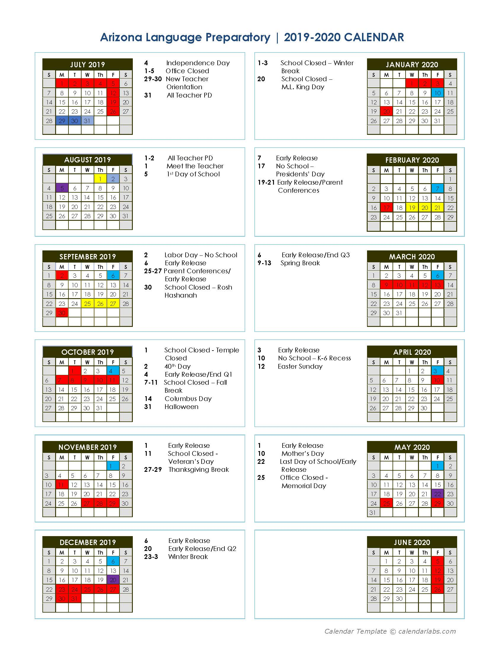 2017-18 Yearly School Calendar - CalendarLabs com